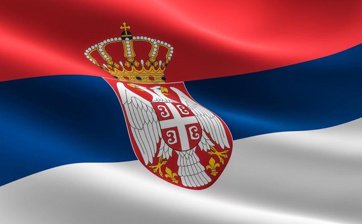 Flag of Serbia. Illustration of the Serbian flag waving.