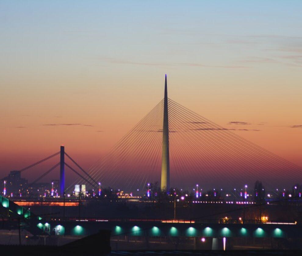 Ada bridge on Sava river at sunset in Belgrade, Serbia