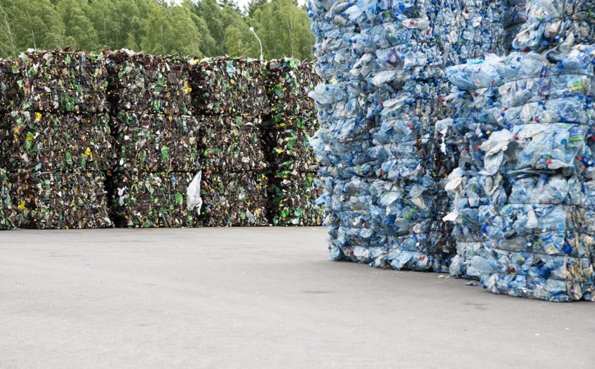 Minsk, Belarus -June 6, 2019 A pile of extruded plastic bottles at a garbage collection plant. Sorting and recycling plastic