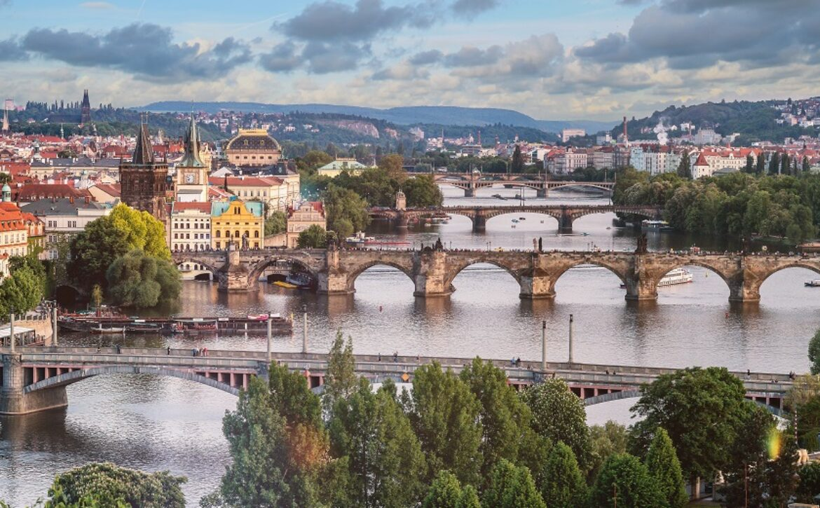 Prague city skyline and Charles Bridge, Prague, Czech Republic